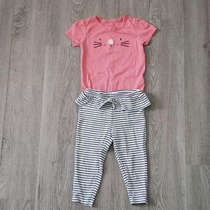 Carter's Pink & Black/White Striped Matching Set